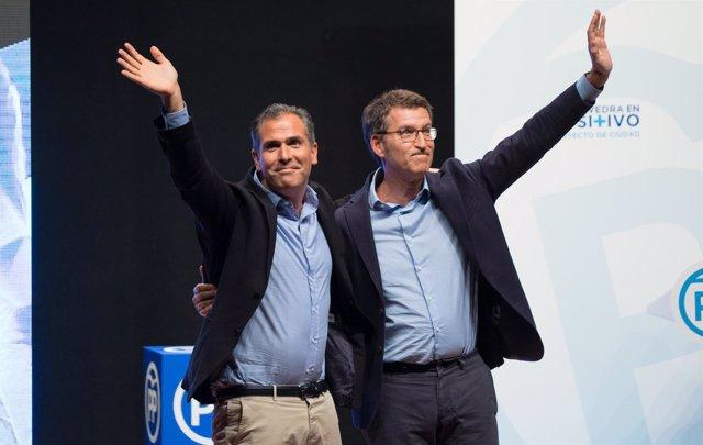 Feijóo y el candidato a la Alcaldía de Pontevedra, Rafael Domínguez