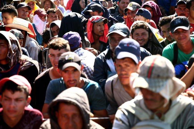 Caravana de migrantes centroamericanos en Ciudad Hidalgo