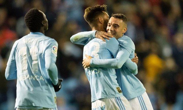 Iago Aspas celebra un gol con el Celta de Vigo