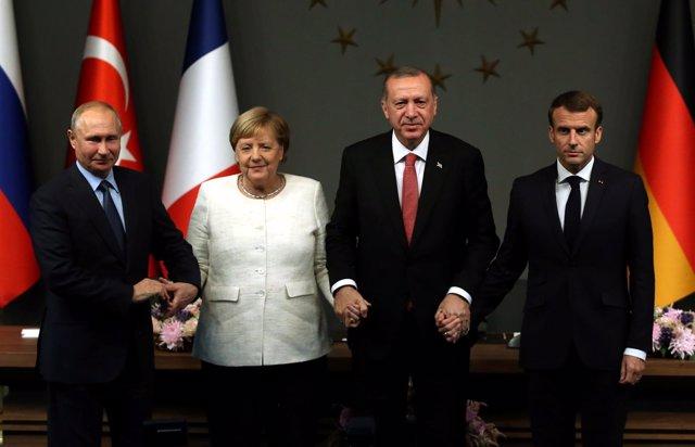 Angela Merkel, Vladimir Putin, Recep Tayyip Erdogan y Emmanuel Macron