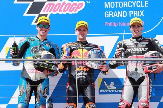 Brad Binder Joan Mir Xavi Vierge podio Moto2 Australia