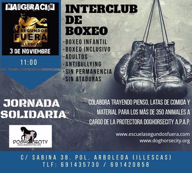 Cartel inauguración interclub solidario en Segundos Fuera de Illescas