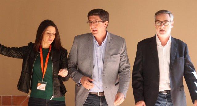 Villegas, Marín y Arrimadas antes de un acto en Jerez
