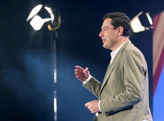 El presidente del PP-A, Juanma Moreno, en la Interparlamentaria del PP