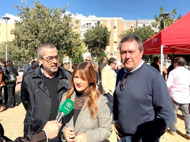 La secretaria general del PSOE de Sevilla, Verónica Pérez, atiende a los medios