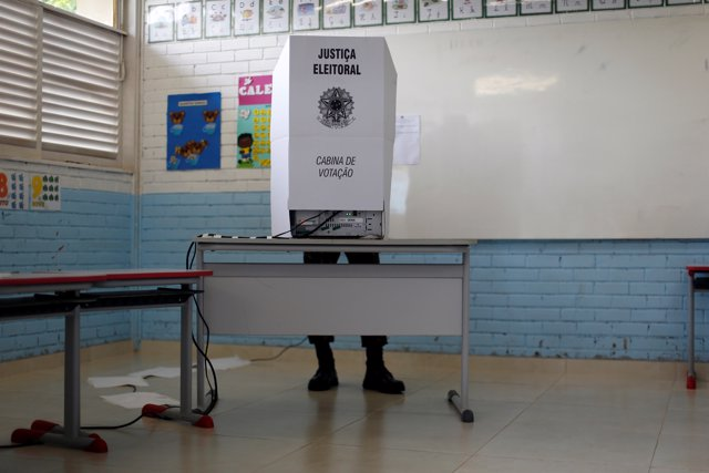 A Brazilian is seen during a runoff election, in Brasilia, Brazil October 28, 20