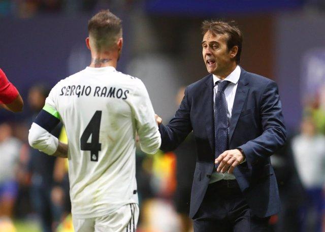 Sergio Ramos y Julen Lopetegui
