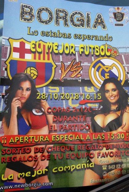 Podemos denuncia el uso del cuerpo de la mujer como reclamo publicitario de partidos de fútbol en el club Borgia