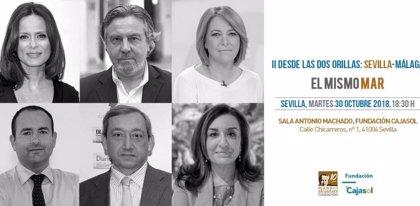 Aitana Sánchez-Gijón y Felipe Benítez Reyes participan en 'Desde las dos orillas: Málaga-Sevilla' en Fundación Cajasol