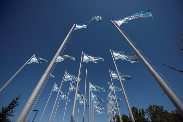 Argentinian flags are seen outside the Tecnopolis Park ahead of the Youth Olympi