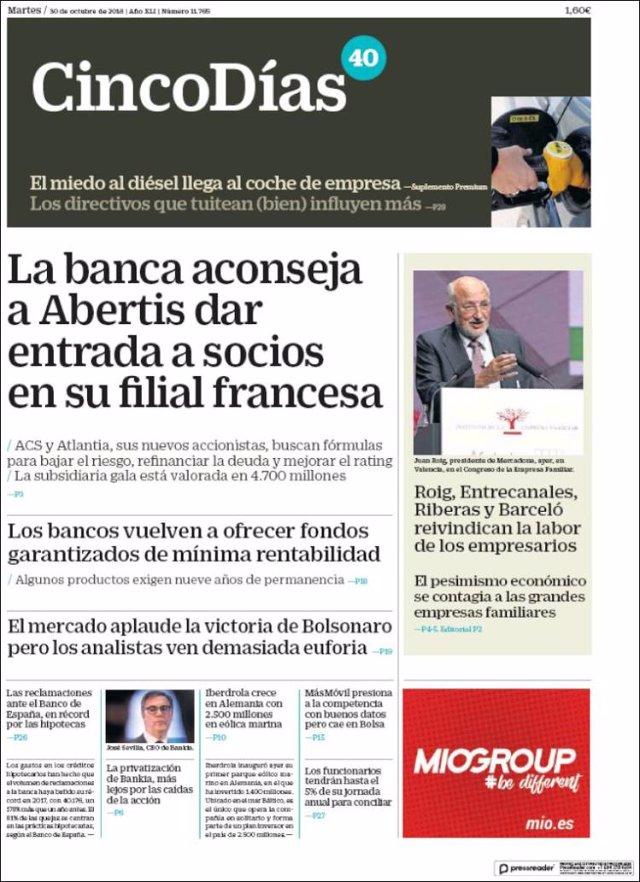 Las portadas de los periódicos económicos de hoy, martes 30 de octubre