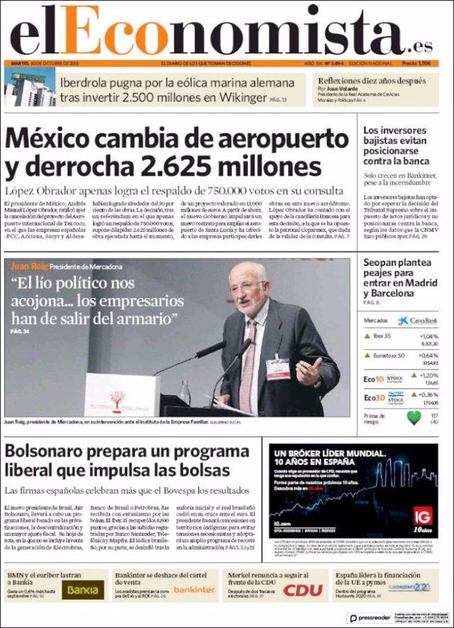 Las portadas de los periódicos económicos de hoy, martes 30