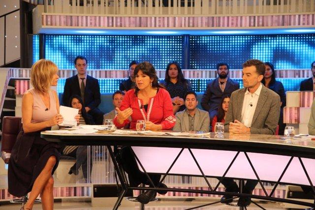 Teresa Rodríguez y Antonio Maíllo, durante la entrevista en Antena 3