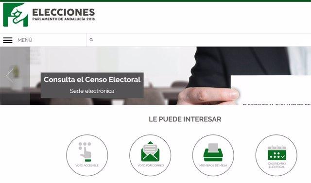 Web institucional sobre las elecciones andaluzas del 2 de diciembre