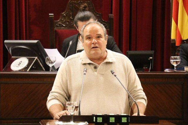 El diputado de Podemos, Aitor Morrás, en el pleno del Parlament