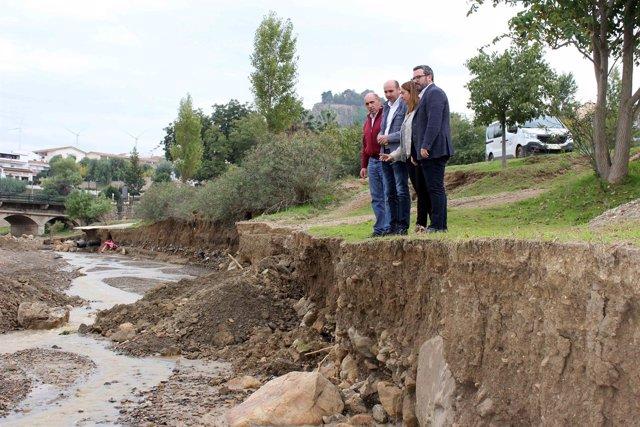Conejo inspecciona los daños de las lluvias en Ardales