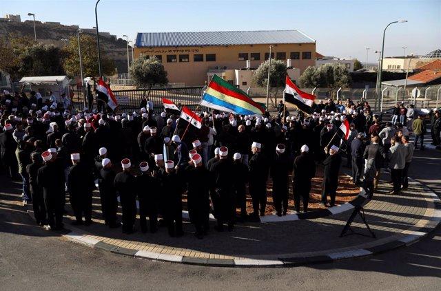 Manifestación de drusos contra las elecciones israelíes en los Altos del Golán