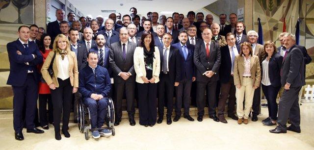 María José Rienda, con presidentes de las federaciones deportivas