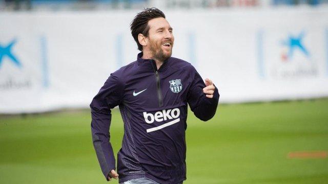 El jugador del FC Barcelona Leo Messi en un entrenamiento