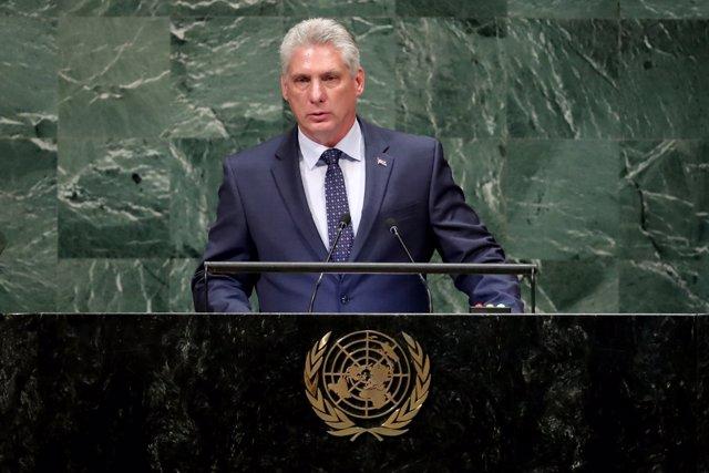 El presidente de Cuba, Miguel Diaz-Canel, ante la Asamblea General de la ONU