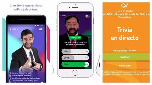 Aplicaciones de concursos en el móvil HQ Trivia, Q12 Trivia y quizvideo