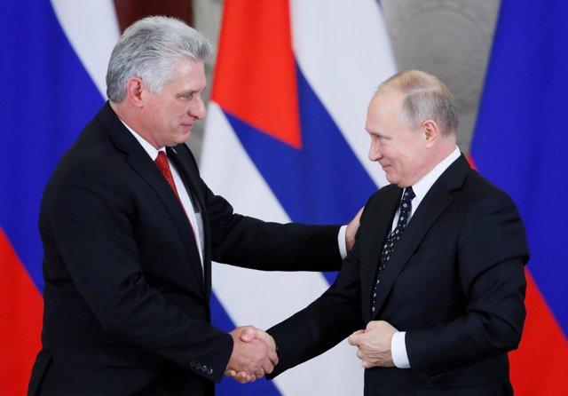 Miguel Díaz-Canel y Vladimir Putin