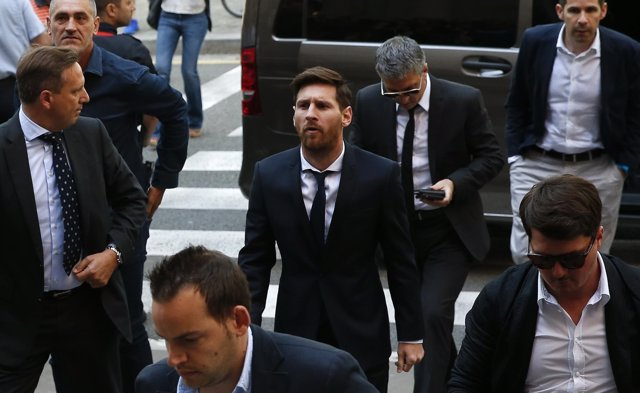 Leo Messi a su llegada al juicio