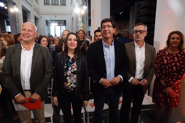Javier Imbroda, Inés Arrimadas, Juan Marín y José Manuel Villegas en Málaga