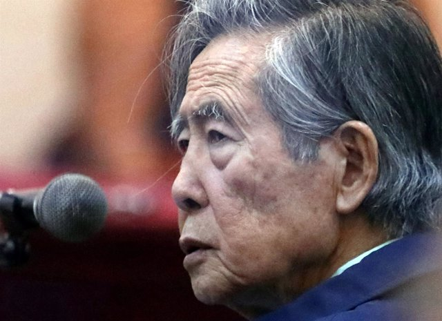 Former President of Peru Alberto Fujimori attends a trial as a witness at the na