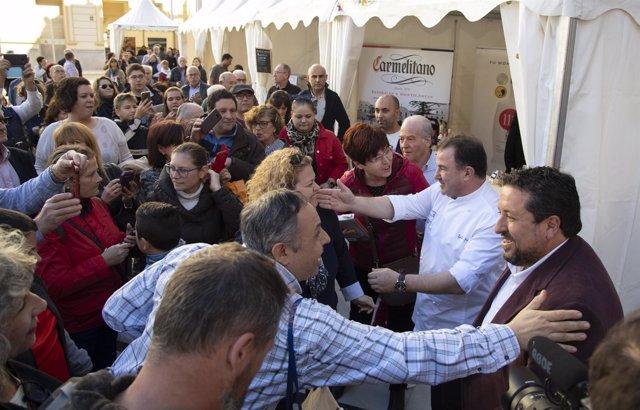 Recibimiento a Martín Berasategui en la feria de Castellón