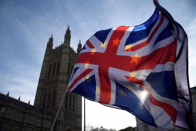 Manifestantes contra el Brexit frente al Parlamento británico