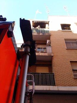 Incendio en un edificio de Aldaia