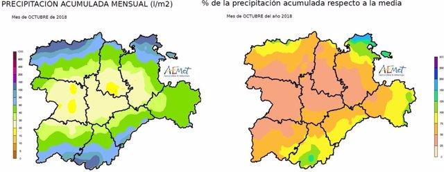 Gráfico sobre las precipitaciones registradas en CyL en octubre