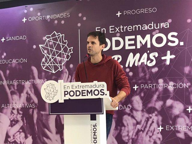 El secretsrio general de Podemos Extremadura, Álvaro Jaén