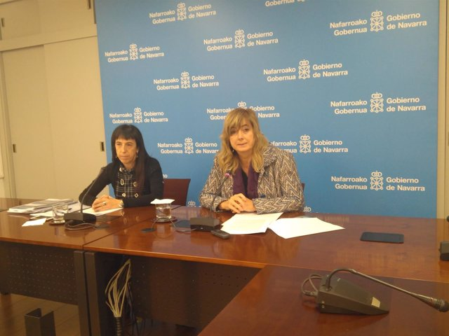 Mertxe Leranoz y Ana Ollo, en la rueda de prensa