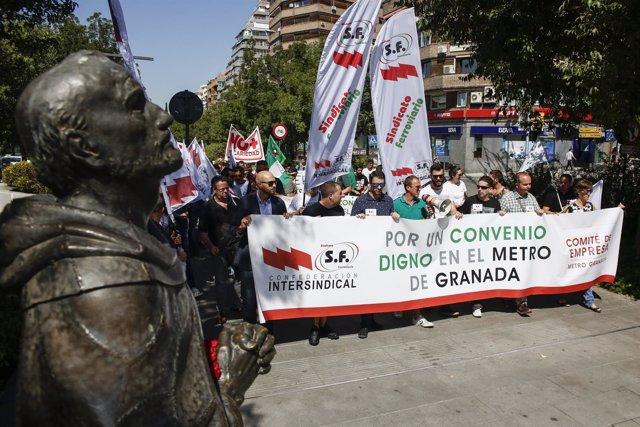 Manifestación de los trabajadores del metro