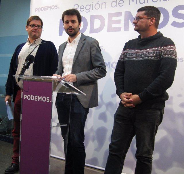 Pedreño, Sánchez Serna de Podemos y José Ibarra (CCOO)