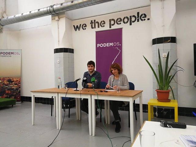 Estañ y Rocío Segura en rueda de prensa tras la Ejecutiva de Podem
