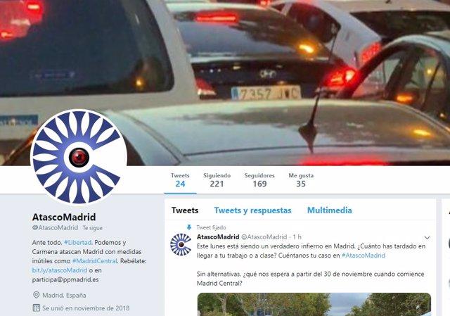 PP de Madrid lanza en Twitter @AtascoMadrid