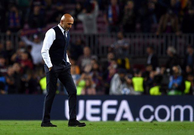 El entrenador del Inter de Milán, Luciano Spalletti, en el Camp Nou