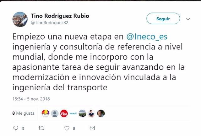 Captura del mensaje de Rodríguez en Twitter