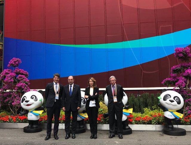 Lambán este lunes en la Feria de Importación de China.