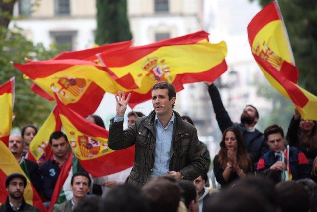 El presidente del PP, Pablo Casado, en Sevilla