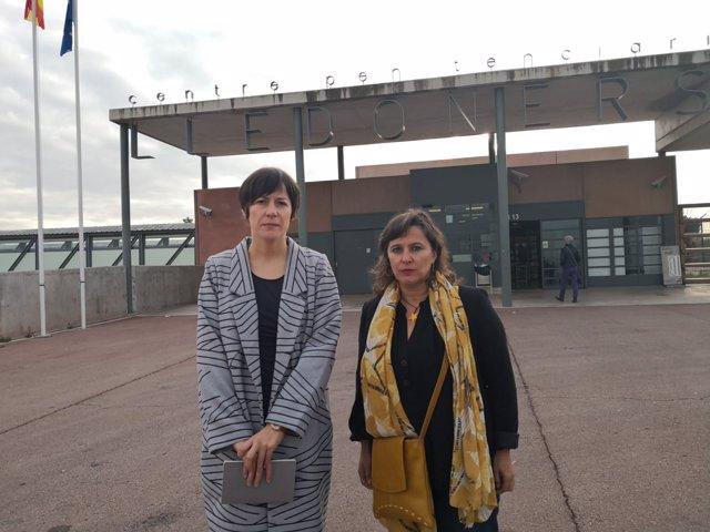 Ana Pontón (izquierda) y Ana Miranda, del BNG, visita a Junqueras