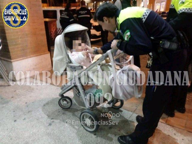 Policía local con la menor