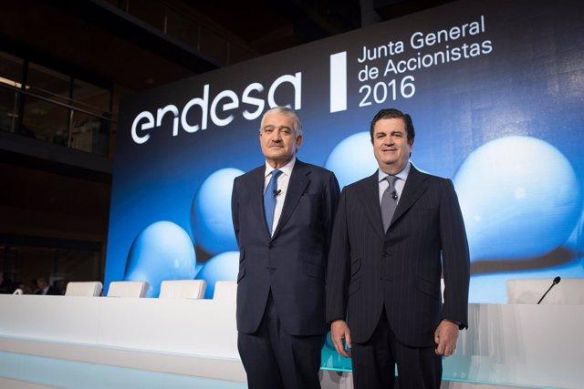 El consejero delegado de Endesa, José Bogas, y el presidente, Borja Prado