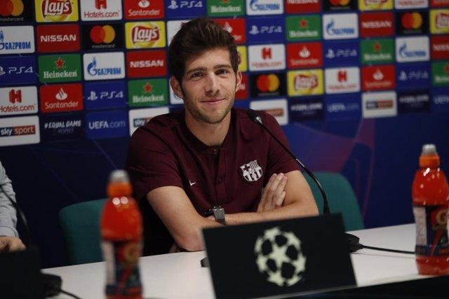 El jugador del FC Barcelona Sergi Roberto en rueda de prensa