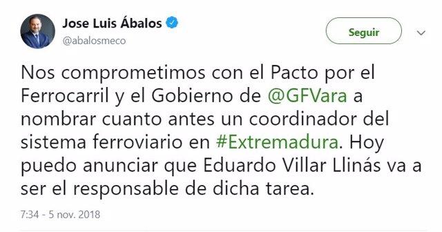 Tuit de José Luis Ábalos