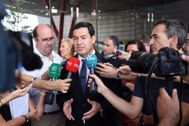 El presidente del PP-A, Juanma Moreno en Málaga