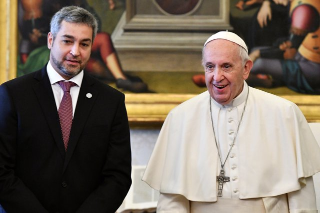 Pope Francis poses with Paraguay's President Mario Abdo Benitez during a private